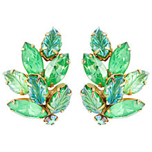 Buy Susan Caplan Vintage 1950s Austrian Aurora Borealis Crystal Leaf Clip-On Earrings, Green Online at johnlewis.com