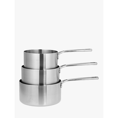 buy john lewis thermacore 5 ply saucepans with lids set 3. Black Bedroom Furniture Sets. Home Design Ideas