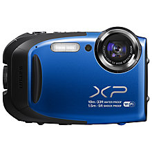 "Buy Fujifilm FinePix XP70 Waterproof Camera, HD 1080p, 16.4MP, 5x Optical Zoom, Wi-Fi, 2.7"" Screen, Blue with Memory Card Online at johnlewis.com"