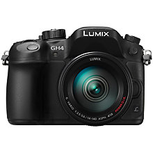 "Buy Panasonic Lumix DMC-GH4 Compact System Camera with 14-140mm Lens, UHD 4K, 16.05MP, OLED EVF, 3"" OLED Screen  with Memory Card Online at johnlewis.com"