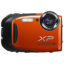 "Buy Fujifilm FinePix XP70 Waterproof Camera, HD 1080p, 16.4MP, 5x Optical Zoom, Wi-Fi, 2.7"" Screen, Orange with 16GB + 8GB Memory Card Online at johnlewis.com"