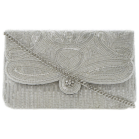 Buy Dune Eazie Beaded Clutch Bag, Silver Online at johnlewis.com