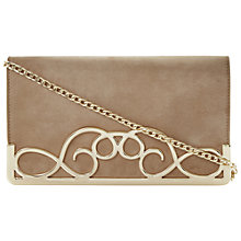 Buy Dune Ewirl Metal Detail Suede Clutch Bag, Taupe Online at johnlewis.com