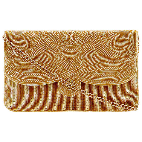 Buy Dune Eazie Slim Beaded Clutch Bag, Gold Online at johnlewis.com