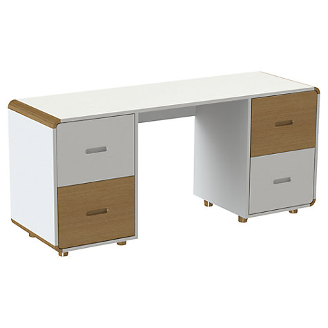Buy Stompa Curve Desk, Silk White / Oak Online at johnlewis.com