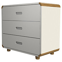 Buy Stompa Curve 3 Drawer Chest, Silk White / Oak Online at johnlewis.com