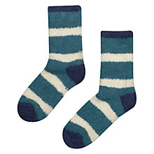 Buy Seasalt Fluffies Stripe Socks, Peacock, Pack Of 1 Online at johnlewis.com