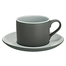 Buy John Lewis Puritan Cup & Saucer, Grey Online at johnlewis.com