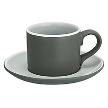 Buy John Lewis Puritan Espresso Cup & Saucer, Grey Online at johnlewis.com