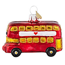 Buy Bombki Little London Bus Glass Hanging Decoration, Red Online at johnlewis.com