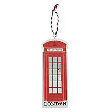 Buy Deck the Halls Wooden Red Telephone Box Hanging Decoration Online at johnlewis.com