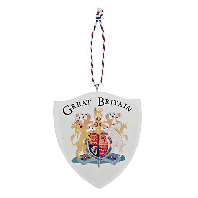 Image of Deck The Halls Wooden Coat of Arms Shield Hanging Decoration