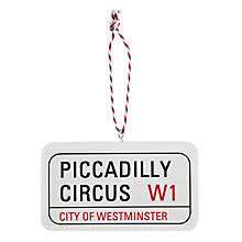 Buy Deck The Halls Piccadilly Circus Street Sign Hanging Decoration Online at johnlewis.com