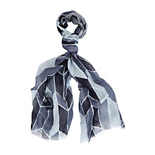 Buy Aquascutum Cotton & Linen Abstract Print Scarf, Light Blue Online at johnlewis.com