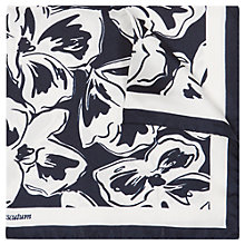 Buy Aquascutum Silk Floral Print Pocket Square, Navy/White Online at johnlewis.com