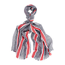 Buy Aquascutum Linen & Cotton Striped Scarf, Red/Navy Online at johnlewis.com