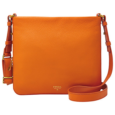 Buy Fossil Preston Leather Cross Body Bag, Orange Online at johnlewis.com