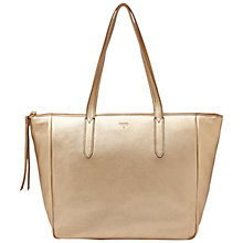 Buy Fossil Sydney Metallic Shopper Handbag, Gold Online at johnlewis.com