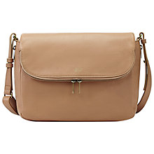 Buy Fossil Preston Leather Small Flap Crossbody Bag, Beige Online at johnlewis.com