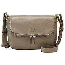 Buy Fossil Preston Small Flap Leather Satchel Bag, Mushroom Online at johnlewis.com