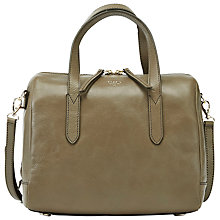 Buy Fossil Sydney Leather Satchel Bag, Mushroom Online at johnlewis.com