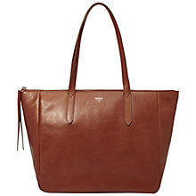 Buy Fossil Sydney Leather Shopper Bag, Brown Online at johnlewis.com