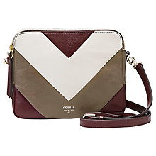 Buy Fossil Sydney Patchwork Leather Across Body Bag, Raisin Online at johnlewis.com