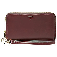 Buy Fossil Sydney Zip Phone Purse, Raisin Online at johnlewis.com
