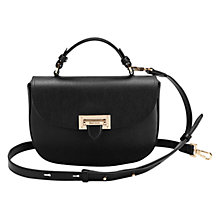 Buy Aspinal of London Letterbox Leather Saddle Bag, Black Pebble Online at johnlewis.com