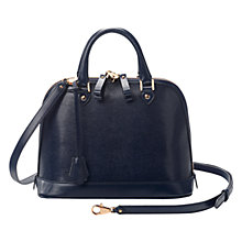 Buy Aspinal of London Mini Hepburn Leather Bowling Handbag, Navy Lizard Online at johnlewis.com