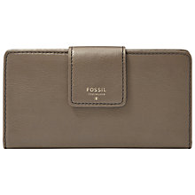 Buy Fossil Sydney Leather Tab Clutch Purse, Mushroom Online at johnlewis.com