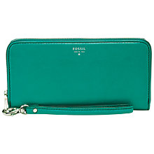 Buy Fossil Sydney Leather Zip Clutch Purse, Turquoise Online at johnlewis.com