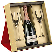 Buy Bollinger Rosé Champagne and 2 Flutes Set, 75cl Online at johnlewis.com