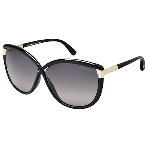 Buy TOM FORD FT0327 Oversized Butterfly Sunglasses, Black/Grey Online at johnlewis.com