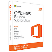 Buy Microsoft Office 365 Personal, 1 PC & 1 Tablet, One Year Subscription Online at johnlewis.com