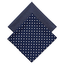 Buy Derek Rose Large & Small Spot Handkerchiefs, Pack of 2, Navy Online at johnlewis.com