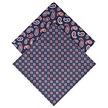 Buy Derek Rose Nelson Paisley Handkerchiefs, Pack of 2, Navy Online at johnlewis.com