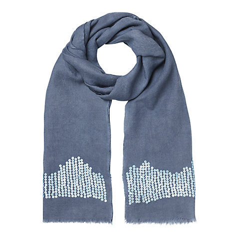 Buy Jigsaw Contrast Sequin Scarf, Blue Online at johnlewis.com