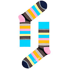 Buy Happy Socks Striped Ankle Socks, Pink/Blue Online at johnlewis.com