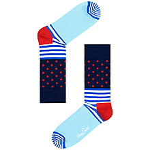 Buy Happy Socks Dotted & Striped Ankle Socks, Blue/Red Online at johnlewis.com
