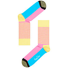 Buy Happy Socks Half Stripe Ankle Socks, Pink Online at johnlewis.com