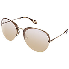 Buy Miu Miu MU53PS ZVN3A2 Round Aviator Sunglasses, Gold Online at johnlewis.com