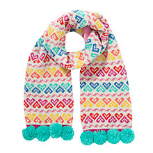 Buy John Lewis Heart Patterned Knit Scarf, Multi Online at johnlewis.com