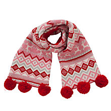Buy John Lewis Christmas Fairilse Scarf, Red Online at johnlewis.com