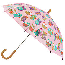 Buy Hatley Owl Umbrella, Pink Online at johnlewis.com