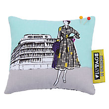 Buy John Lewis 1950s Ladies Print Pin Cushion, Light Blue/Grey Online at johnlewis.com