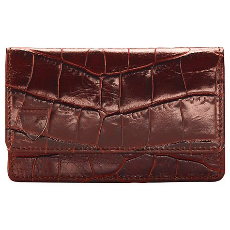 Buy Aspinal of London Leather Business Card Holder, Brown Online at johnlewis.com