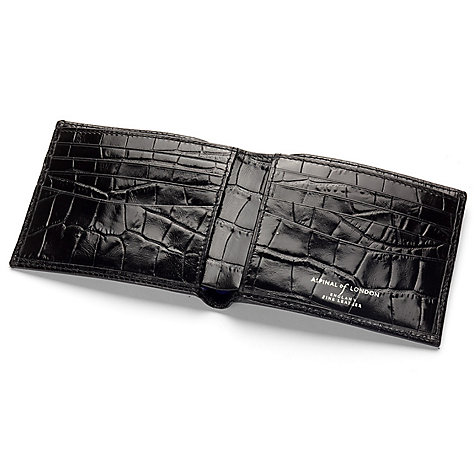 Buy Aspinal of London Billfold Leather Wallet, Black Croc Online at johnlewis.com