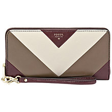 Buy Fossil Sydney Leather Zip Clutch Purse, Raisin Online at johnlewis.com
