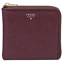Buy Fossil Sydney Leather Zip Coin Purse, Raisin Online at johnlewis.com